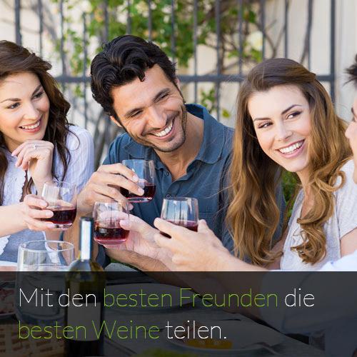 Weine und Weinlisten mit Freunden teilen, Weinempfehlungen von Freunden für beste Weine, Weincommunity